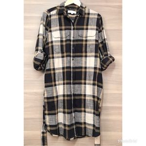 LOFT Dresses - LOFT Plaid Belted Shirt Dress